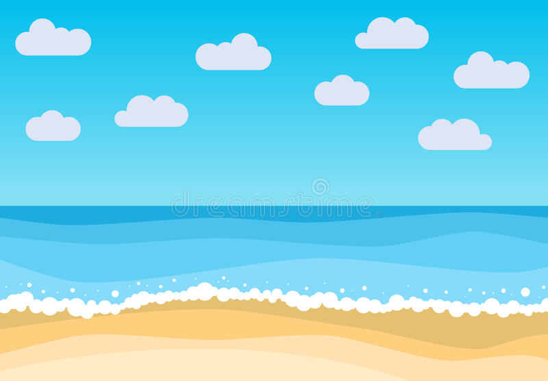 Vector landscape with summer beach. Waves of the sandy beach, blue sky and sea. Landscape vector illustration stock illustration