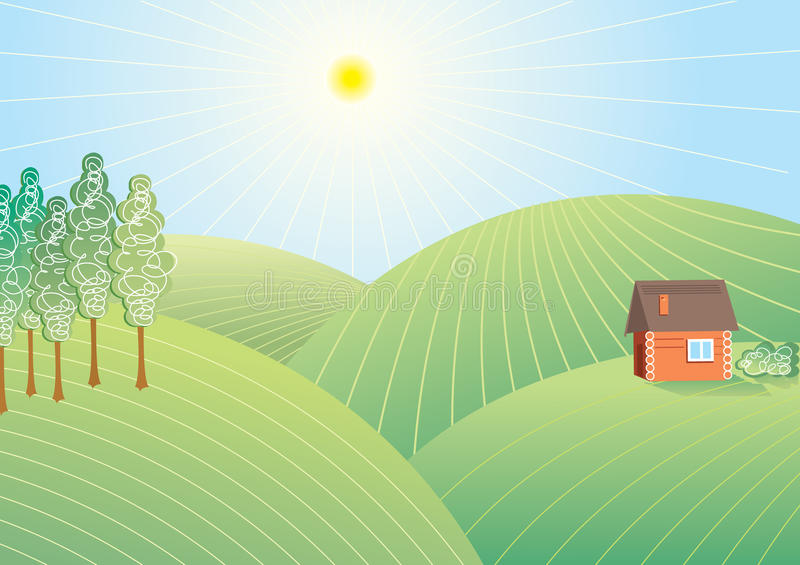 Vector landscape in sun day stock photography