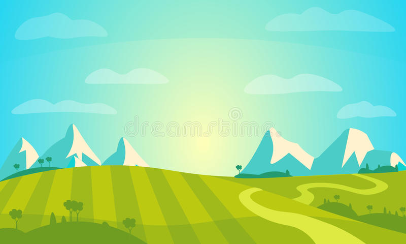 Vector Landscape with Sunny Field and Mountains . Rural Farm Scenery Illustration. Eps 10 vector illustration