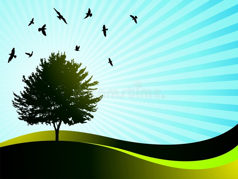 Vector landscape with tree and birds. On blue background royalty free illustration