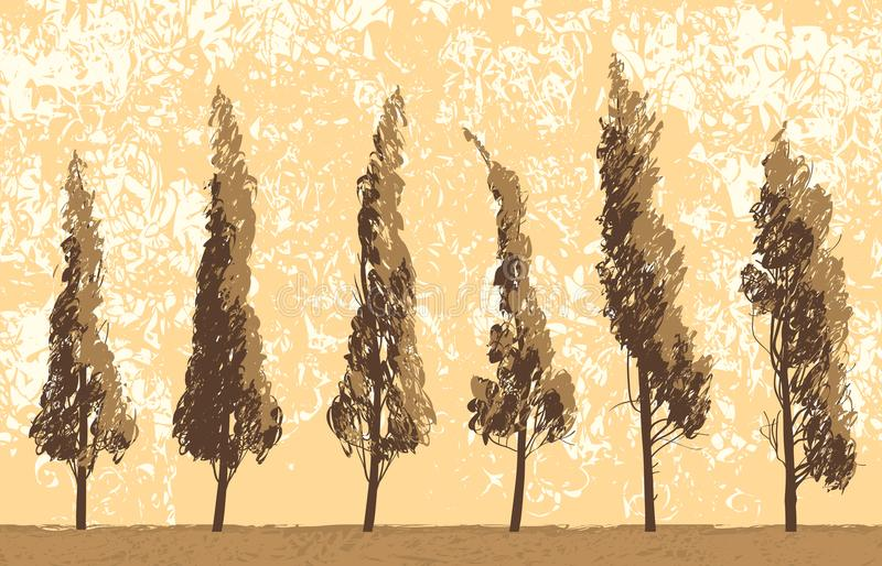 Seamless landscape with trees on sky backdrop royalty free illustration