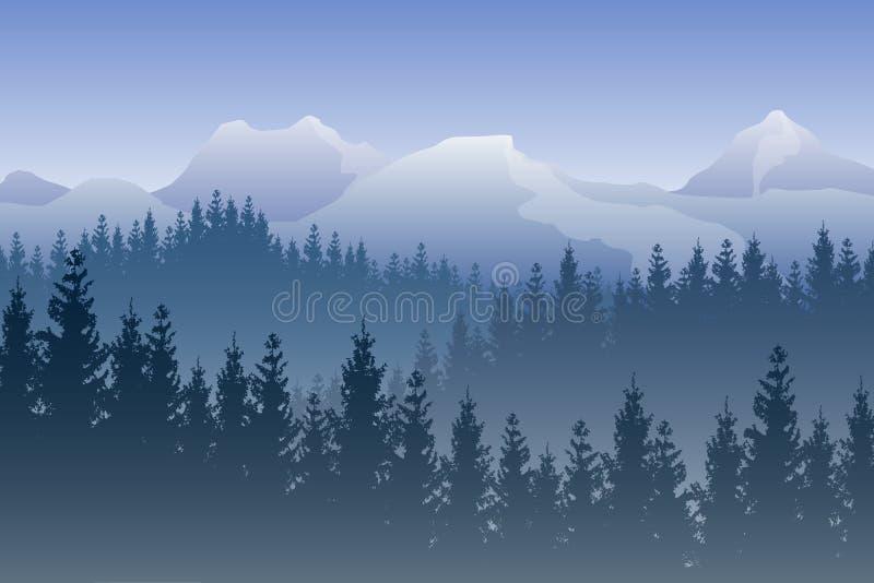 Vector Landschaft mit blauen Wäldern und schneebedeckten Bergen auf dem Hintergrund lizenzfreie abbildung
