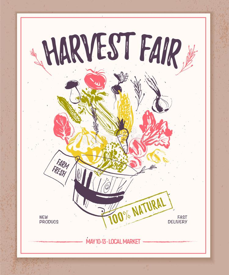 Vector Landwirtmarktfahne mit Hand gezeichnetem Skizzenkorb voll des rohen Gemüses, das heraus spritzt stock abbildung