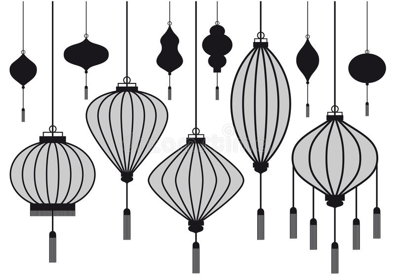 Vector lantern. Set of chinese lantern, vector silhouettes stock illustration