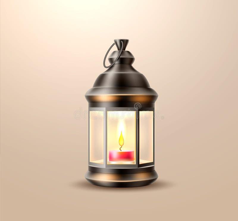 Vector a lanterna velha do vintage, lâmpada com vela ilustração royalty free