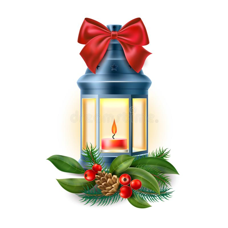 Vector a lanterna velha do vintage, lâmpada com vela ilustração stock