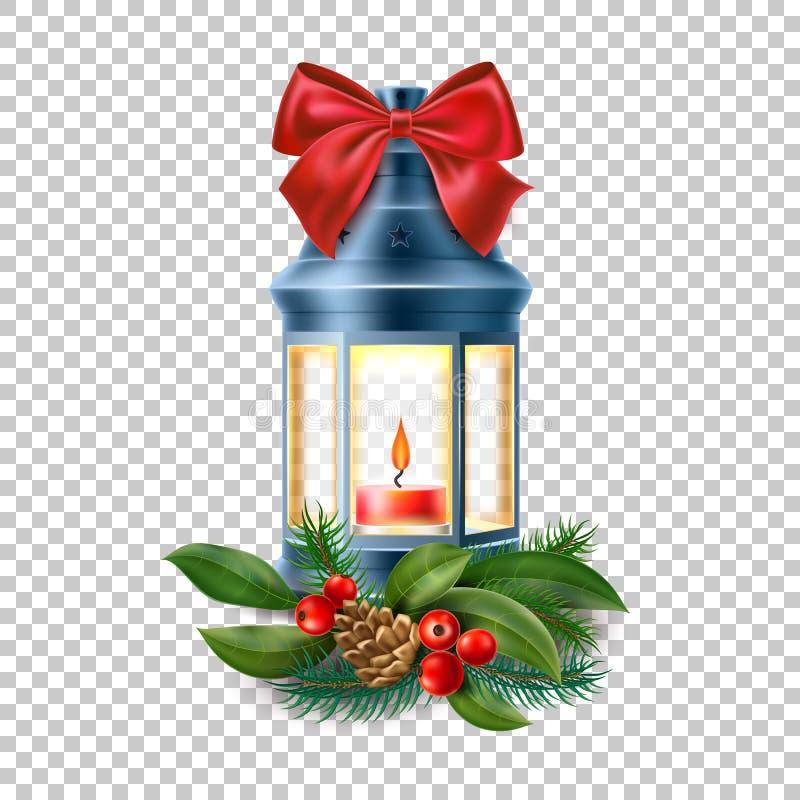Vector a lanterna velha do vintage, lâmpada com vela ilustração do vetor