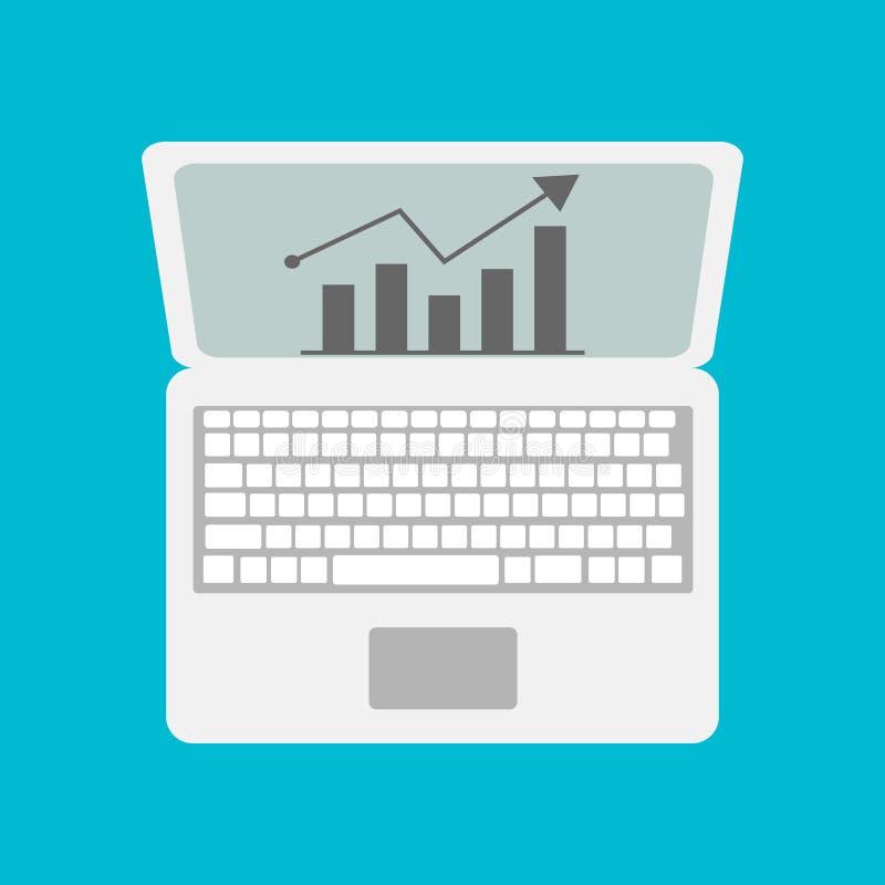 Vector Laptop mit Geschäfts- oder Gewinnwachstumsbalkendiagramm lizenzfreie abbildung