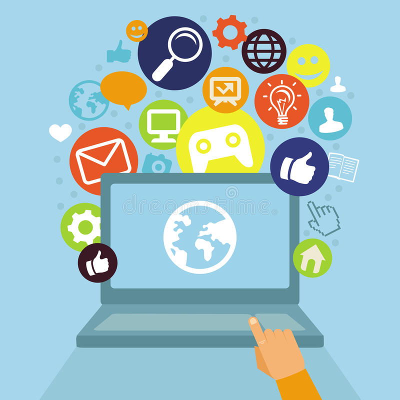 Vector laptop with social media icons royalty free illustration