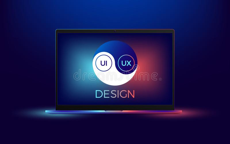 Vector Laptop With Ui And Ux Yin Yang Stock Vector Illustration Of