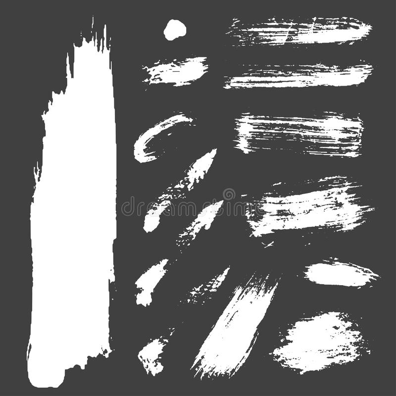 Different grunge brush strokes ink art texture dirty creative grungy element paintbrush vector illustration. stock illustration