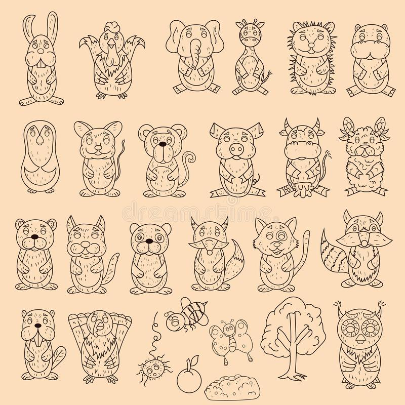 Large set of wild and domestic animals coloring pages in the style of childrens scribbles for design and design background is vector illustration