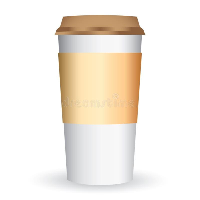 Vector largo de la taza del café de papel stock de ilustración