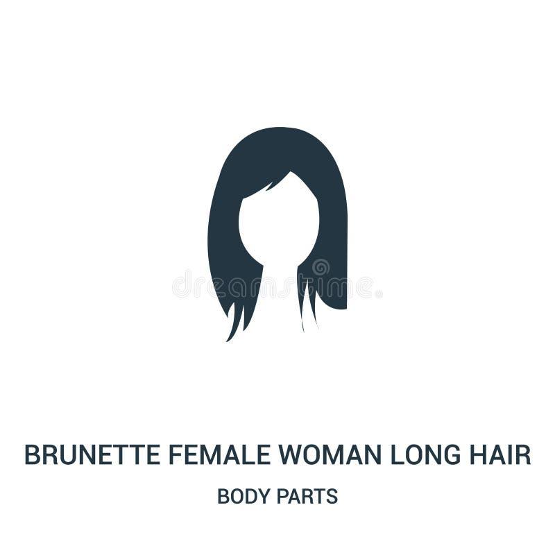 vector largo del icono del pelo de la mujer femenina morena de la colección de las partes del cuerpo Línea fina icono largo del e ilustración del vector