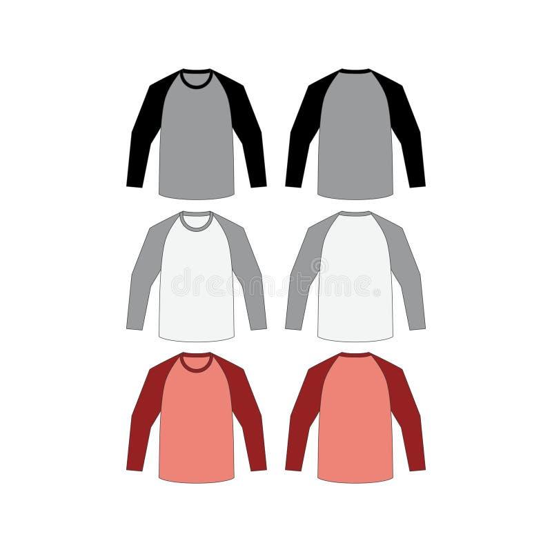 Vector largo del raglán de la camiseta stock de ilustración