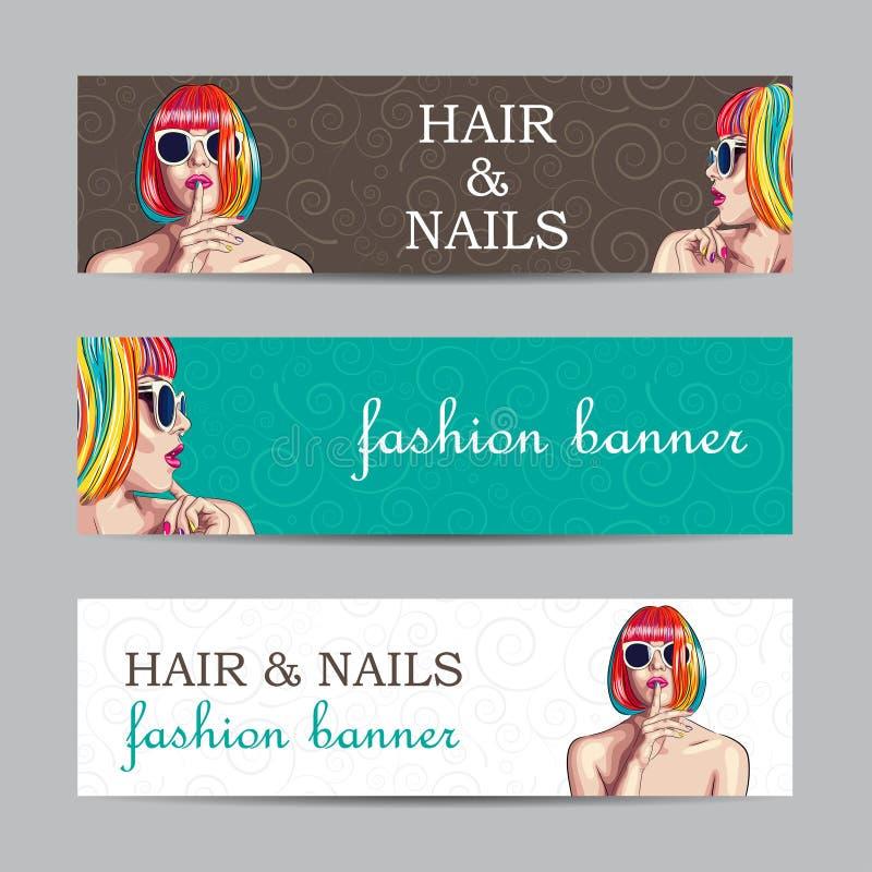 Vector las banderas de la moda con la mujer que lleva la peluca colorida ilustración del vector