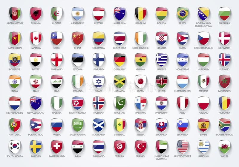 Vector las banderas del ejemplo del mundo en forma del escudo con nombres stock de ilustración