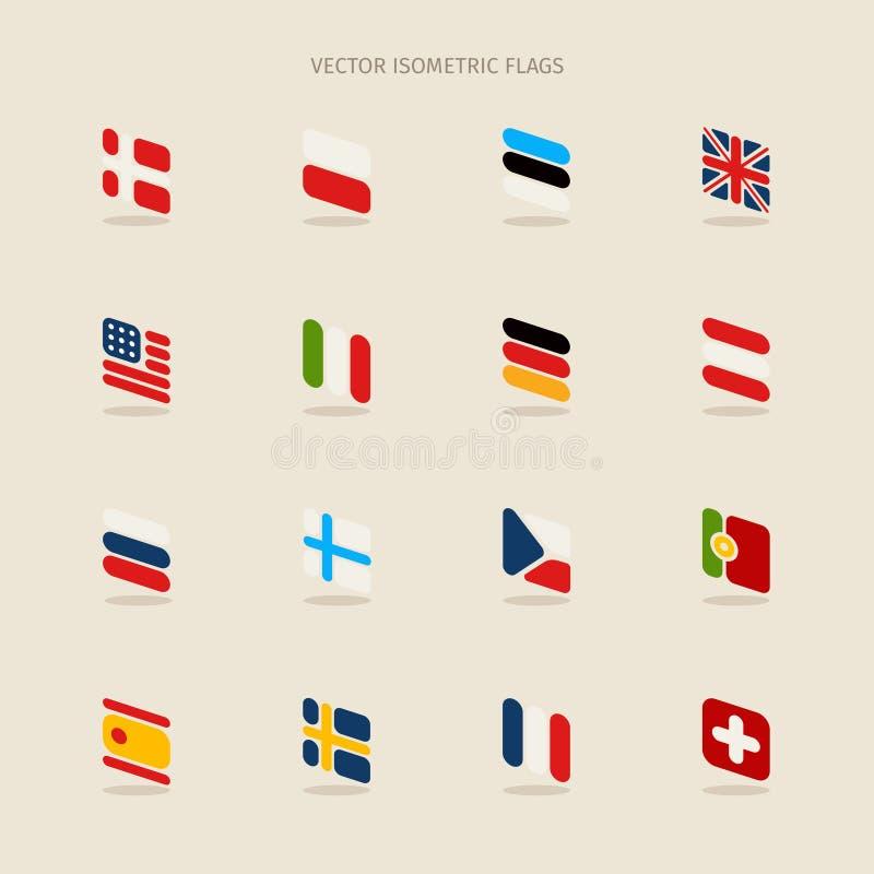 Vector las banderas isométricas con las esquinas redondeadas en estilo simple libre illustration