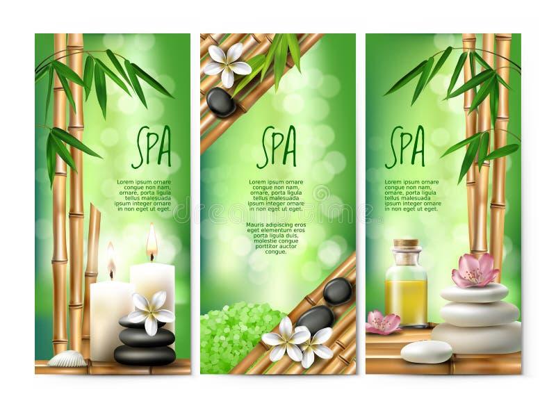 Vector las banderas para los tratamientos del balneario con la sal aromática, aceite del masaje, velas stock de ilustración