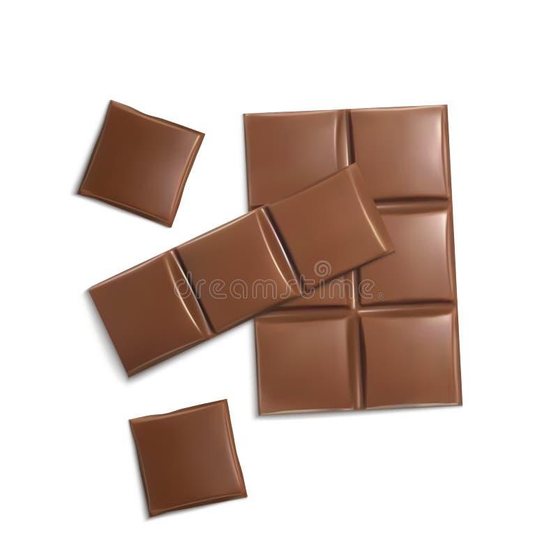 Vector las barras de chocolate marrones realistas 3d, pedazos stock de ilustración