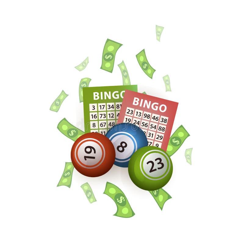 Vector las bolas planas de la lotería del bingo, boletos, dinero stock de ilustración