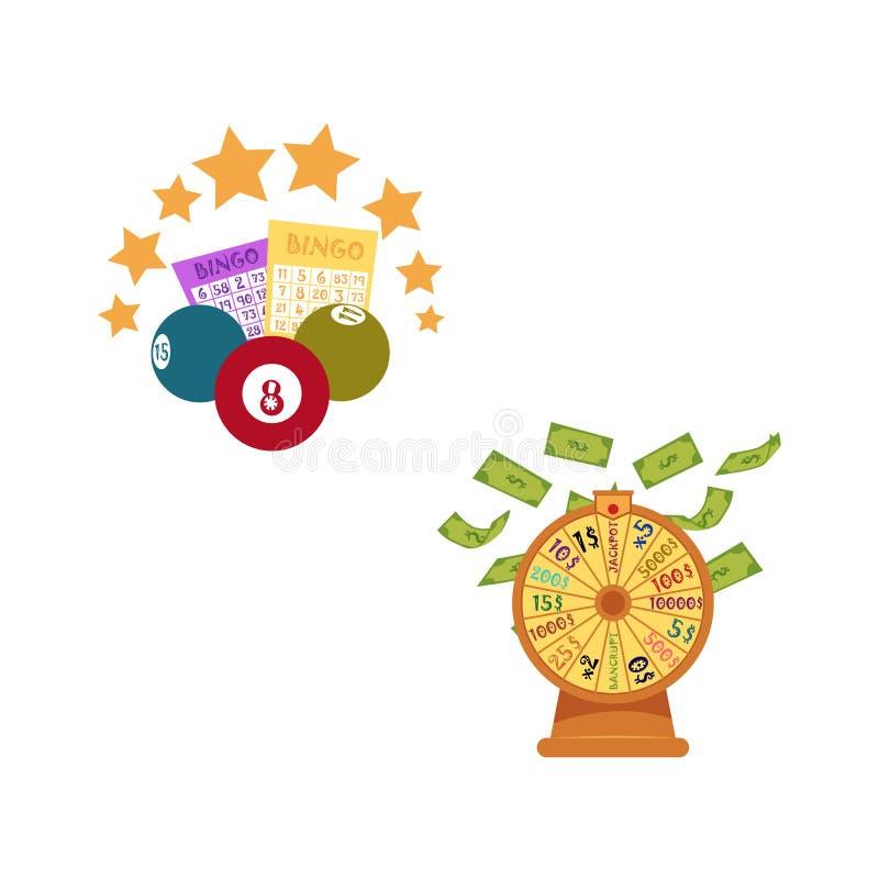 Vector las bolas planas de la lotería del bingo, boletos, estrellas ilustración del vector