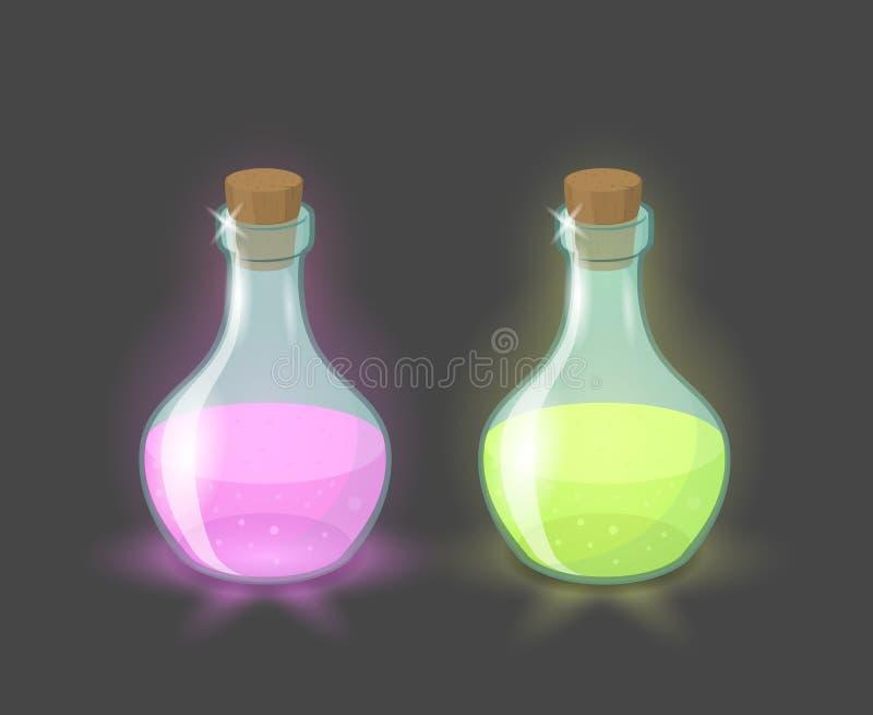 Vector las botellas mágicas con las bebidas del rosa y del verde ilustración del vector