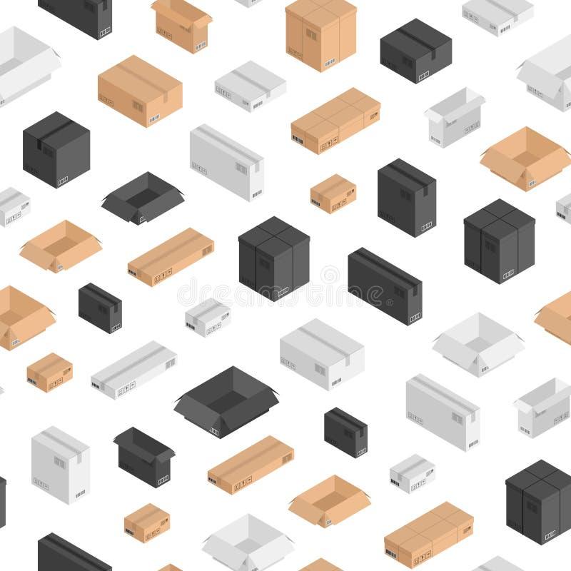 Vector las cajas isométricas modelo o fondo de diverso tamaño Cajas de envío con las escrituras, códigos de barras dimensión 3d p ilustración del vector