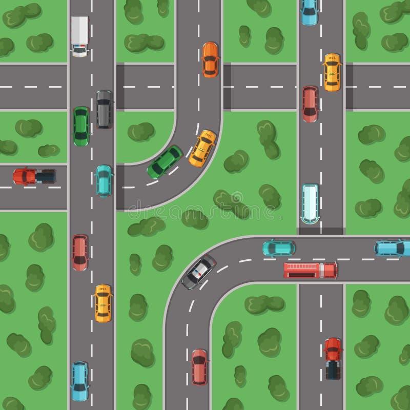 Vector las carreteras de la visión superior con los coches y con el ejemplo medio de la opinión superior de los árboles libre illustration