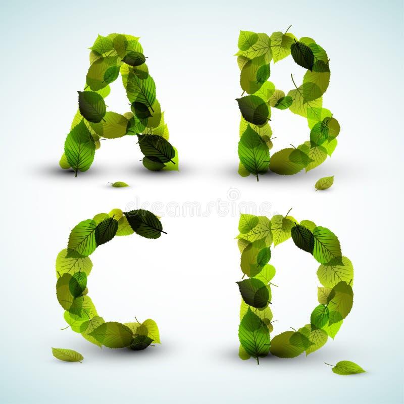 Vector las cartas del alfabeto hechas de las hojas ilustración del vector