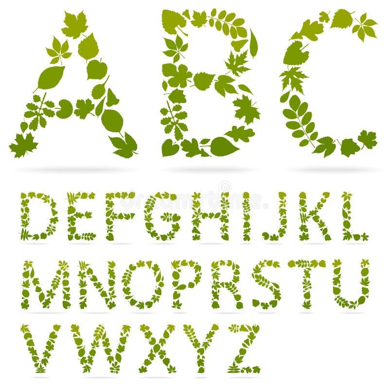 Vector las cartas del alfabeto hechas de las hojas libre illustration