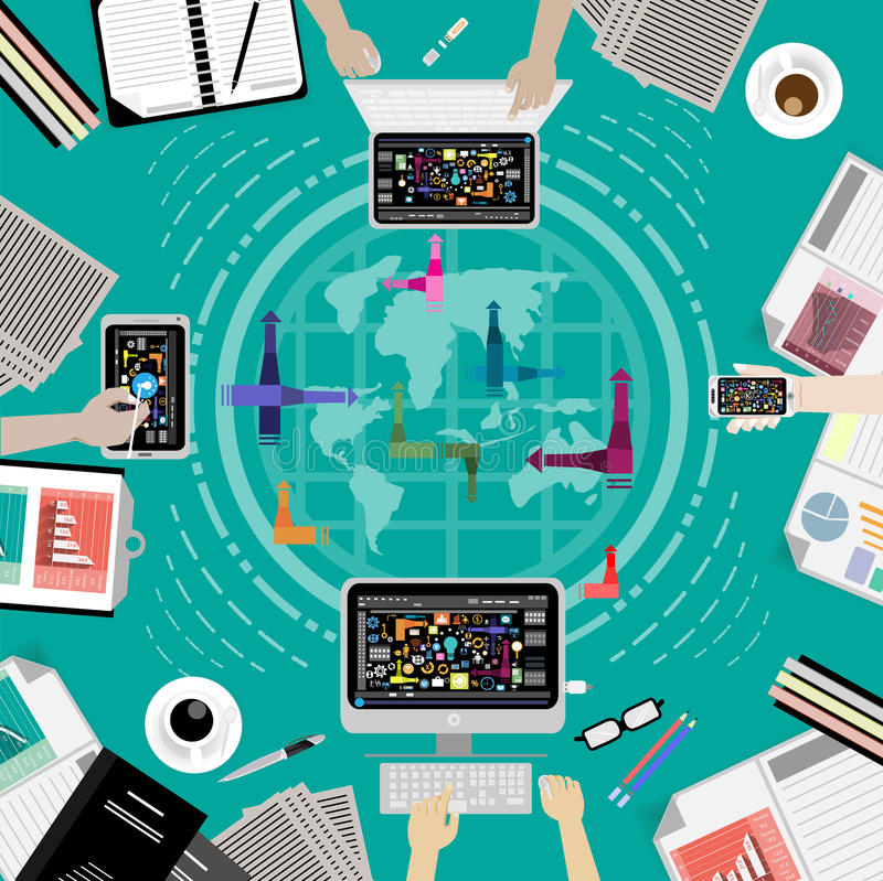 Vector las comunicaciones empresariales por todo el mundo usando la tecnología de las comunicaciones, ordenadores, teléfonos móvi stock de ilustración