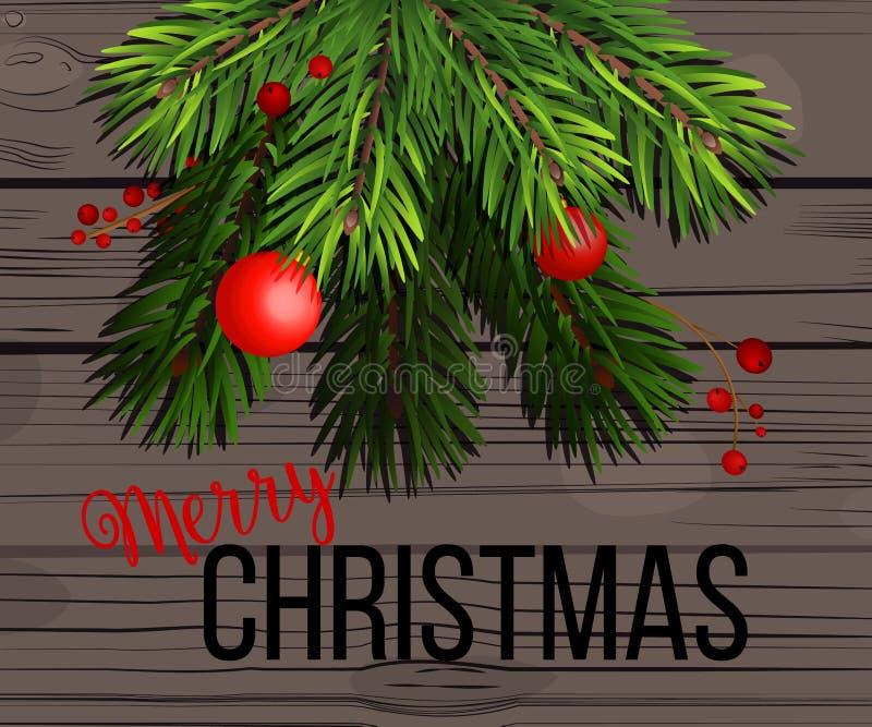 Vector las decoraciones de la Navidad del ejemplo con el árbol de abeto, los conos del pino, el acebo, las bayas y los elementos  stock de ilustración