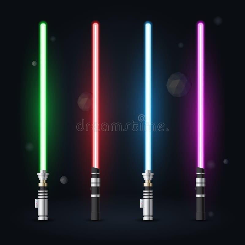 Vector las espadas futuras ligeras futuras ligeras de las espadas, del azul, del verde, rojas y púrpuras stock de ilustración