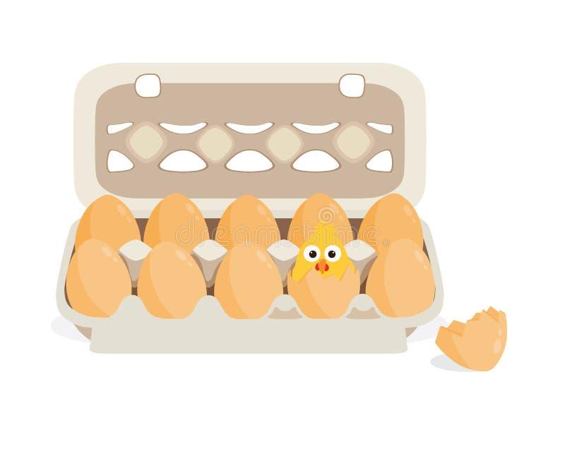 Vector las etiquetas engomadas con el pollo entre los huevos en fondo aislado blanco ilustración del vector