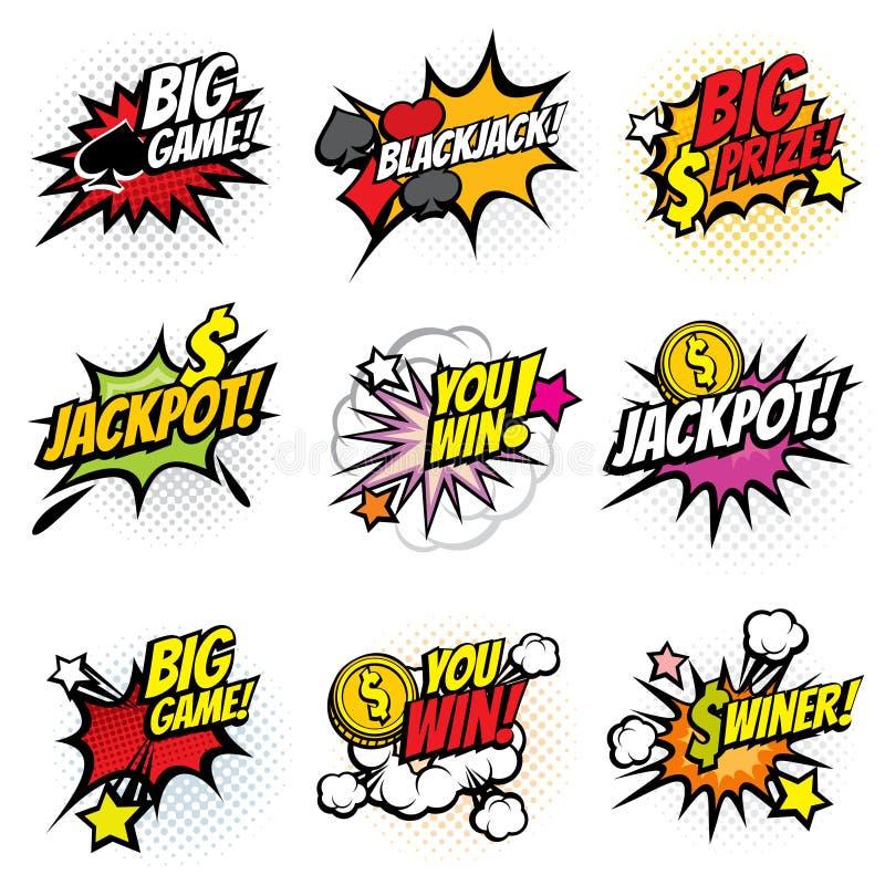 Vector las etiquetas engomadas de la burbuja del juego que ganan en estilo cómico retro del arte pop stock de ilustración
