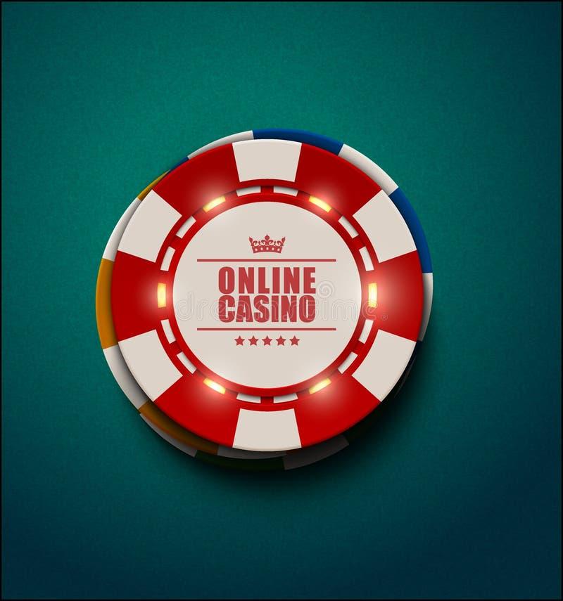Vector las fichas de póker del casino con los elementos ligeros luminosos, visión superior Fondo Textured del verde azul Casino e ilustración del vector