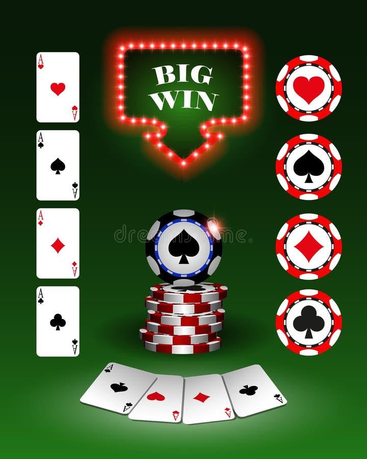 Vector las fichas de póker del casino, plantilla para los fondos del diseño, tarjetas, logotipo ilustración del vector