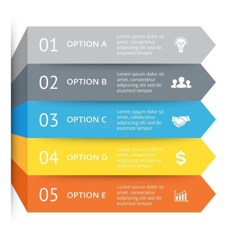 Vector las flechas infographic, carta del diagrama, presentación del gráfico Concepto del negocio con 5 opciones, piezas, pasos,  stock de ilustración