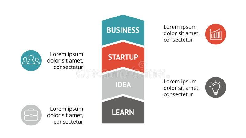 Vector las flechas infographic, carta del diagrama, presentación del gráfico Plantilla del negocio con 4 opciones, piezas, pasos, ilustración del vector