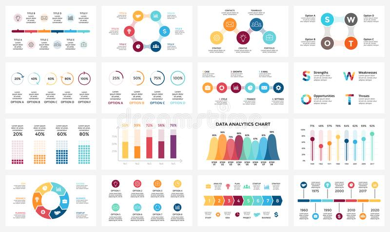 Vector las flechas infographic, carta del diagrama, presentación del gráfico Informe de negocios con 3, 4, 5, 6, 7, 8 opciones, p stock de ilustración