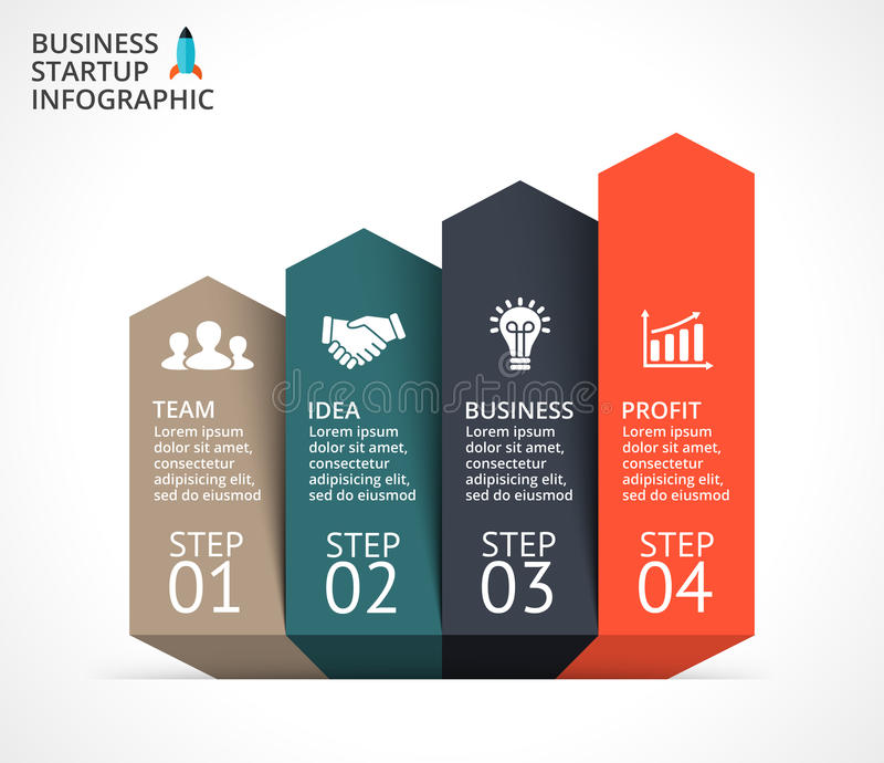 Vector las flechas infographic, diagrama, gráfico, presentación, carta Concepto del negocio con 4 opciones, piezas, pasos, proces ilustración del vector