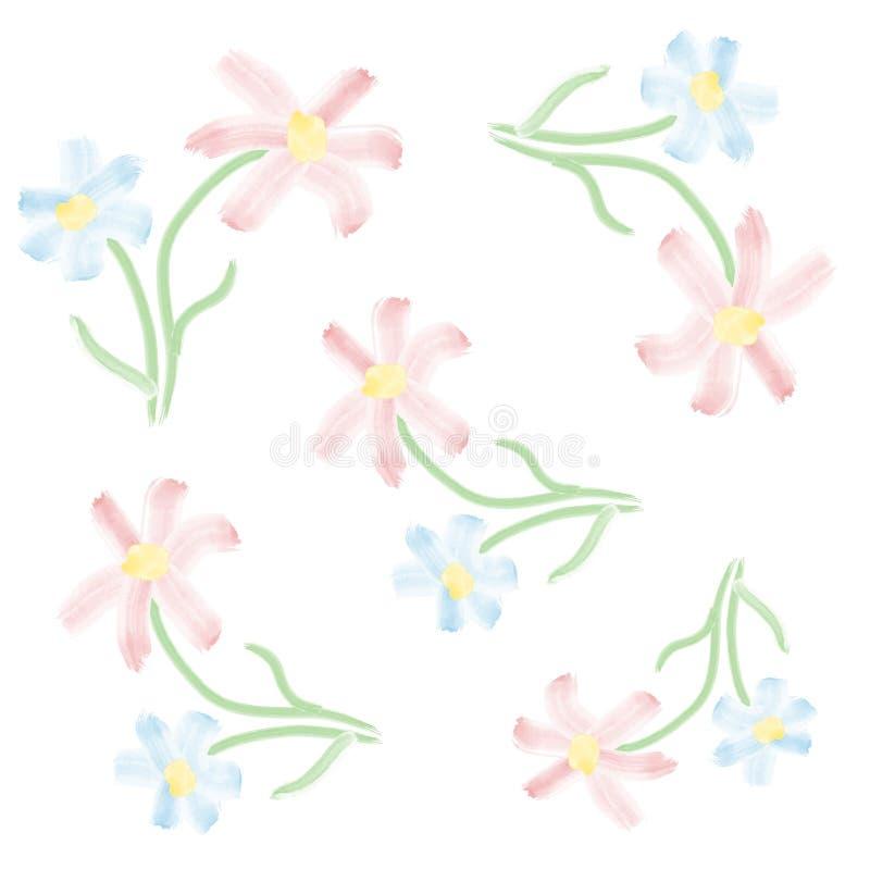 Vector las flores azules y rosadas blancas del fondo del estampado de flores muy brillante de la acuarela - ilustración del vector