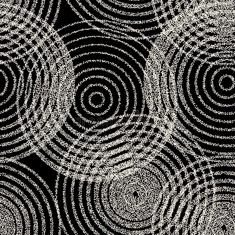 Vector las formas monocromáticas inconsútiles de los círculos concéntricos que puntean el modelo Diseño abstracto del fondo del t libre illustration