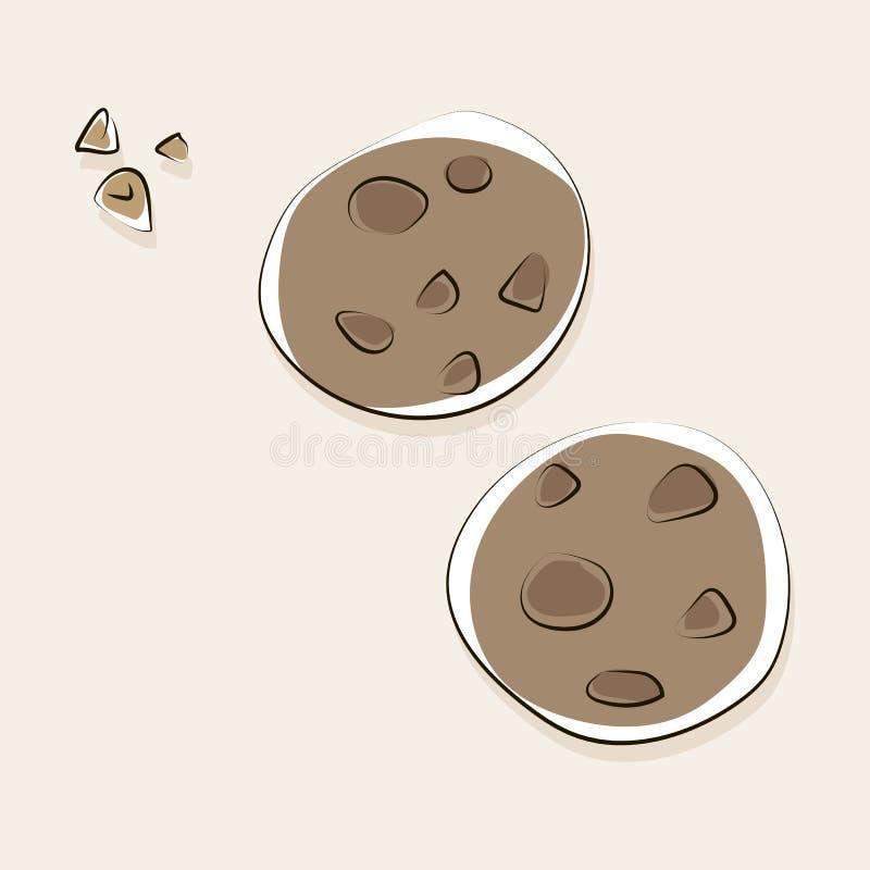 Vector las galletas de torta dulce pintadas con el chocolate con la sombra ilustración del vector