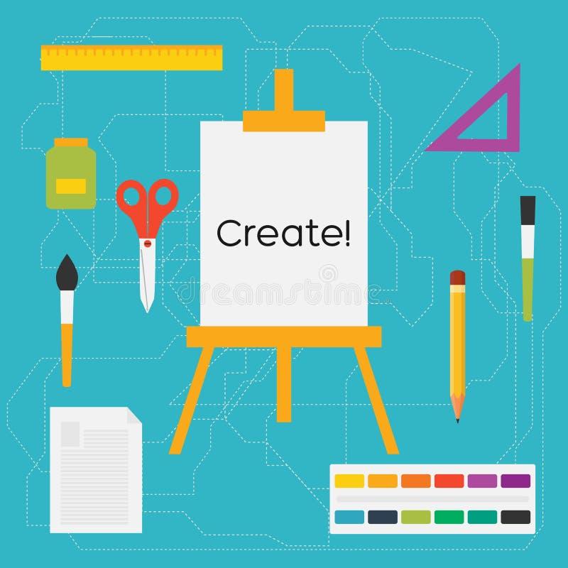 Vector las herramientas del arte de la educación del estilo y las fuentes de escuela planas: caballete, cepillos, lápiz, pintura, ilustración del vector