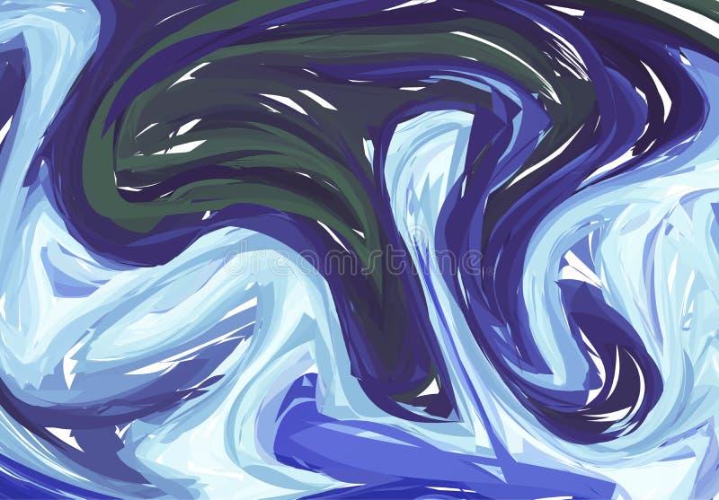 Vector las ilustraciones dibujadas mano en textura del mármol del agua Modelo líquido de la pintura Fondo azul marino abstracto e stock de ilustración