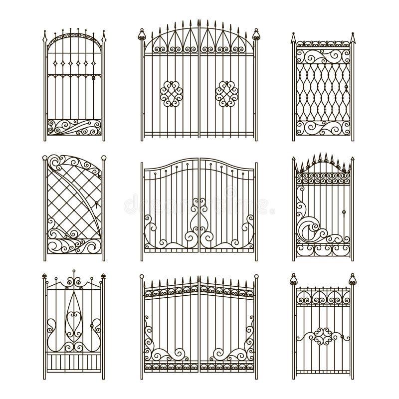 Vector las imágenes de las puertas o de las puertas del hierro con remolinos, fronteras y otros elementos decorativos stock de ilustración