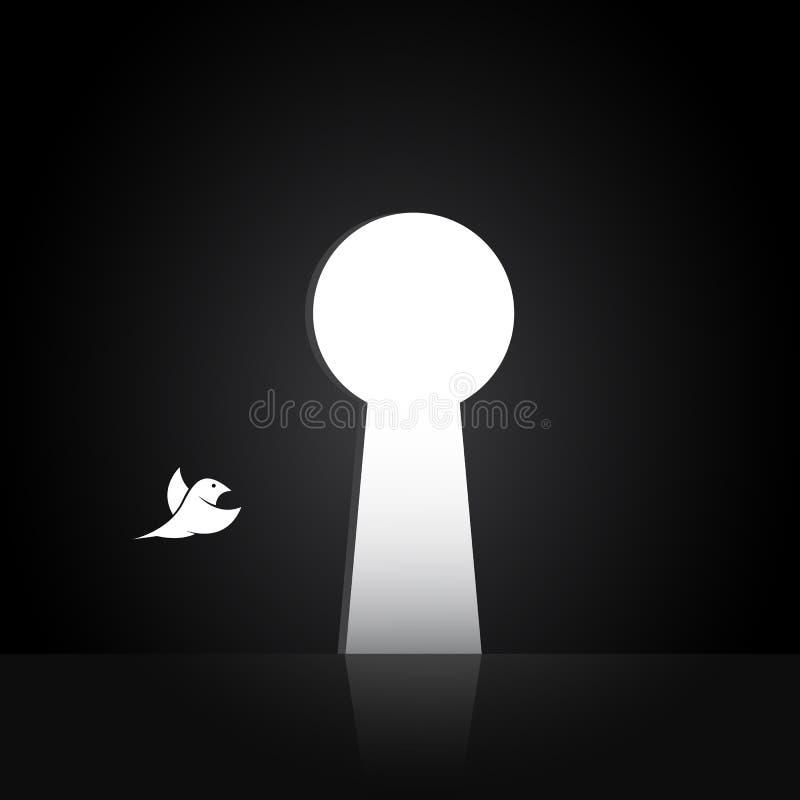 Vector las imágenes de los pájaros que están volando hacia fuera la puerta stock de ilustración