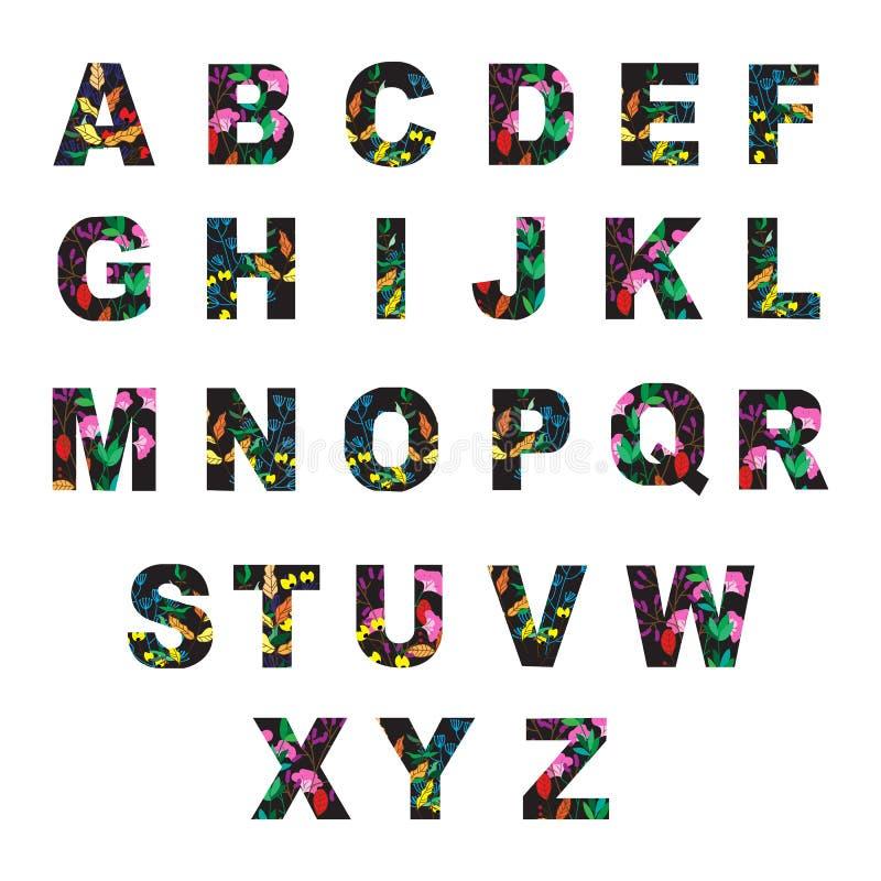 Vector las letras del alfabeto hechas de las hojas y de las flores de otoño Vec stock de ilustración